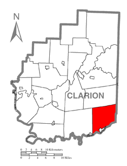 Map of Clarion County, Pennsylvania highlighting Redbank Township