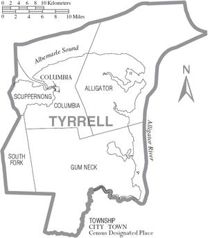 Tyrrell County, North Carolina - Map of Tyrrell County, North Carolina With Municipal and Township Labels
