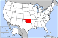Map of USA highlighting Oklahoma