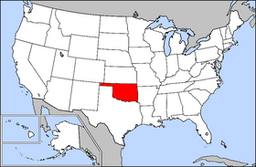 Kort over USA med Oklahoma markeret