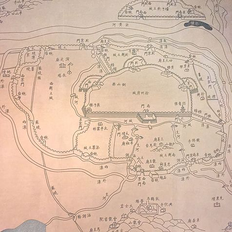 Map of the prefectural city of Xuzhou in the late Qing, the outer earthen ramparts against the Nian Rebellion is also shown. Map of Xuzhou Walled City (Qing, Qing Xu Zhou Fu Cheng Tu ).jpg