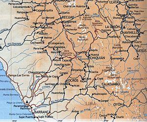 La Unión, Huánuco - Road Map of La Union, from Paramonga, see Chaskitampu, Raquia, Cajacay, Qunuqucha, Chiquián, Aquia, Wansala and Wallanka.