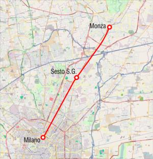 Milan–Monza railway - Map