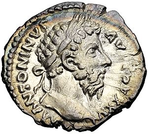 Roman currency - Denarius of Marcus Aurelius.