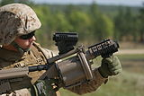 Marine shoots M32 at Fort Bragg for prepering to go to Afghanistan.jpg