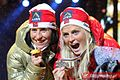 Marit Bjørgen, Therese Johaug Oslo 2011 medal ceremony (cross-country skiing, women 15 km).jpg