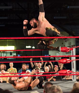 Professional wrestling aerial techniques - Mark Briscoe performing a diving elbow drop on Colin Delaney