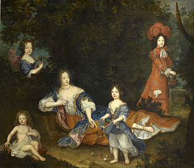 Madame de Montespan and four of her children: Mademoiselle de Nantes, the comte de Vexin, Mademoiselle de Tours and the duc du Maine
