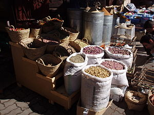 Retail - Goods are displayed in a rustic manner in Marrakech's souk (market)