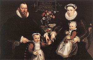 Gillis Hooftman - Johanna Hooftman with Antonio Anselmo und two children. Painting by Marten de Vos