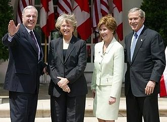 Paul Martin - Paul and Sheila Martin with George and Laura Bush