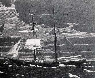 Ghost ship - An engraving of Mary Celeste as she was found abandoned.