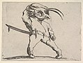 Masked, small male figure with right hand grasping hat and left hand grasping sword hilt, from the series 'Varie figure gobbi' MET DP833456.jpg