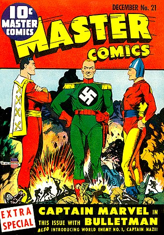Crossover (fiction) - An early example of the comics crossover: Captain Marvel and Bulletman join forces to battle Captain Nazi. Master Comics number 21, Artwork by Mac Rayboy.