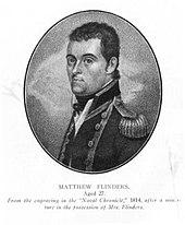 A portrait of Matthew Flinders. A man in naval uniform