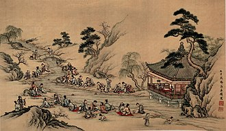 Sun Chuo - The Orchid Pavilion Gathering as depicted in an 18th-century Japanese painting.