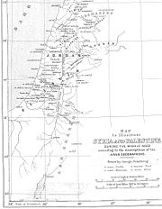 An 1890 map of Palestine as described by medieval Arab geographers, with the junds of northern Jordan and southern Filastin