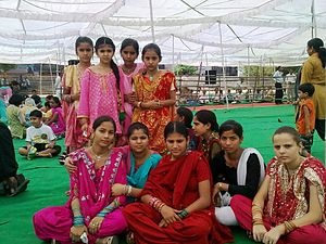 Meghwal - A group of Megh girls at Kabir Jayanti function in Jammu, India