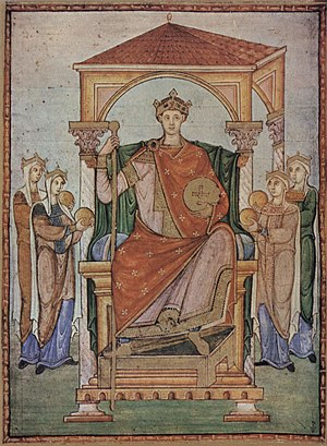 Ottonian Renaissance - Emperor Otto II, Registrum Gregorii, Trier, c. 985, 27 × 20 cm,  Musée Condé, Chantilly
