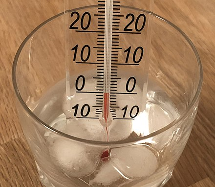 Ice cubes put in water will reach the 0 degC melting point of ice when they start to melt. Melting ice thermometer.jpg