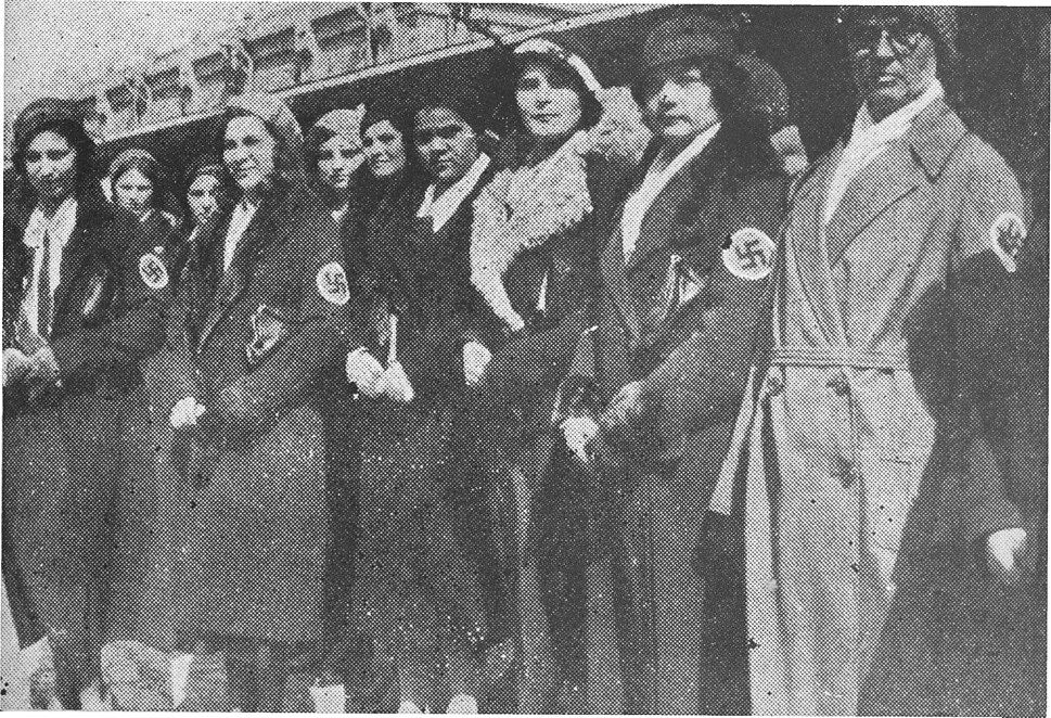 Members of the Russian Women's Fascist Movement line up in honor of A. A. Vonsyatsky at Harbin Railway Station