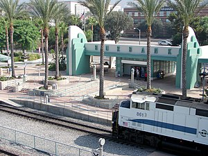 Downtown Burbank station - A train at the Burbank station