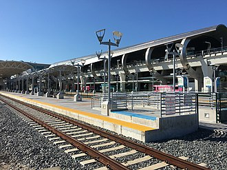 Miami Intermodal Center - The MIC's Tri-Rail (foreground) and Metrorail (background) platforms