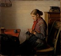 Michael Ancher - Skagen girl, Maren Sofie, knitting. - Google Art Project.jpg