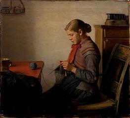 Skagen girl, Maren Sofie, knitting