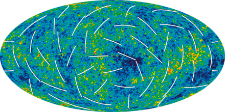 3-year WMAP image of background cosmic radiation (2006). Microwave Sky polarization.png