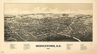 Middletown, Orange County, New York - Perspective map of Middleton from 1887 with list of landmarks by L.R. Burleigh