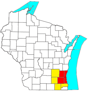 Milwaukee metropolitan area - Location of the Milwaukee-Waukesha-West Allis MSA in Wisconsin