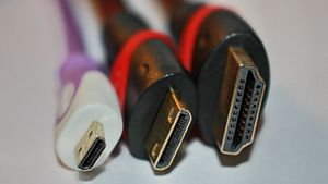 HDMI - HDMI connector plugs (male): Type D (Micro), Type C (Mini), and Type A.