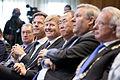 Minister-president Rutte, Koning Willem-Alexander en secretaris-generaal van de Verenigde Naties Ban Ki-moon tijdens het 100-jarig bestaan van het Vredespaleis. (9616073424).jpg