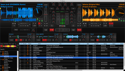 A screenshot of Mixxx DJ software running on Mac OS X Mixxx-1.11.0-Deere.png