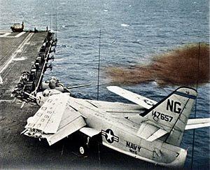 Mk 42 guns aboard USS Ranger (CVA-61) firing c1961.jpg
