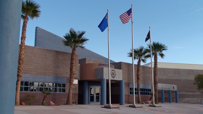 U.S.. Nevada and Clark County flags fly at Moapa Valley High School in the Clark County School District, Nevada. Wikipedia image