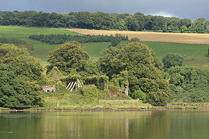 Molana Abbey - The ruins of Molana Abbey pictured from the eastern bank of the River Blackwater