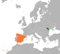 Map indicating locations of Moldova and Spain