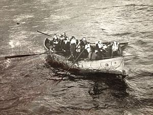 HMS Vanquisher (D54) - Survivors from ''Mona's Queen'' following her sinking at Dunkirk about to be rescued by Vanquisher