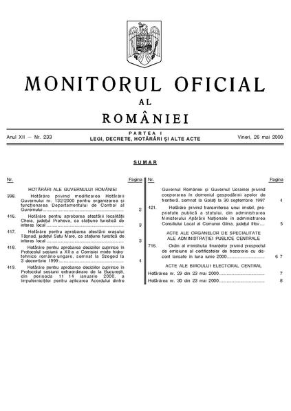File:Monitorul Oficial al României. Partea I 2000-05-26, nr. 233.pdf
