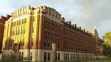 The north building on campus as seen up close Monroe-IHM-sidebuilding.jpg