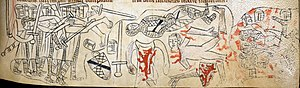 There are three sections. In the left, a groups of knights in armour are holding a naked body, seemingly attacking it with their swords. In the middle, a naked body lies with severed arms, legs and head nest to a uniform, arms and another prone body. The right section seemingly depicts a pile of dead bodies in armour.