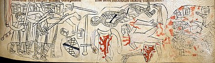 Death of Simon de Montfort at the Battle of Evesham Montfort Evesham.jpg