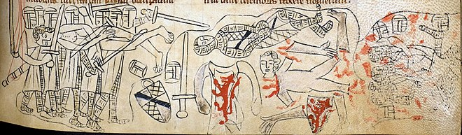 A 13th-century cloth depiction of the mutilation of Montfort's body after the Battle of Evesham Montfort Evesham.jpg