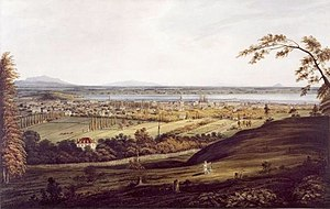 Louis-Charles Foucher - Montreal, 1832: The large red-roofed house in the foreground is Piedmont, Foucher's home from 1820 to 1829