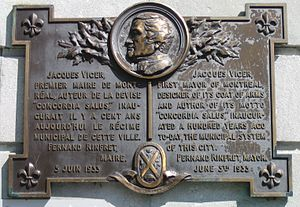 Mayor of Montreal - A commemorative plaque, Vauquelin Square