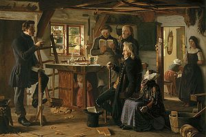 "Christianity in Denmark - ""Mormons visit a country carpenter"" (1856) by Christen Dalsgaard, depicting a mid-19th century visit of a Mormon missionary to a Danish carpenter's workshop. The first Mormon missionaries arrived in Denmark in 1850."