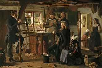"Religion in Denmark - ""Mormons visit a country carpenter"" (1856) by Christen Dalsgaard, depicting a mid-19th century visit of a Mormon missionary to a Danish carpenter's workshop. The first Mormon missionaries arrived in Denmark in 1850."