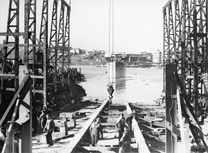 Mort's Dock - Workers at Mort's Dock lay the keel plate for a new vessel shortly after HMAS ''Deloraine'' was launched in 1941.